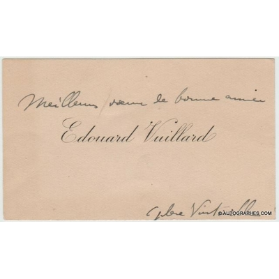 Edouard VUILLARD - Carte de visite autographe (Place Vintimille)