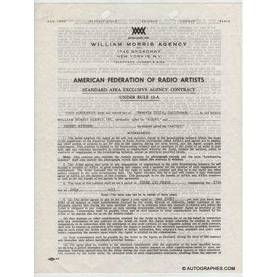 Robert MITCHUM - Contrat signé (1953)