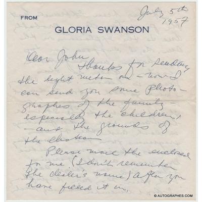 Gloria SWANSON - Lettre autographe signée (1957)