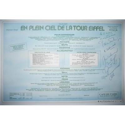 Mohamed ALI - Pierre SALINGER - Michel DRUCKER - Roger GRASS - Françoise GALLIMARD - Menu du restaurant de la Tour Eiffel signé (1976)