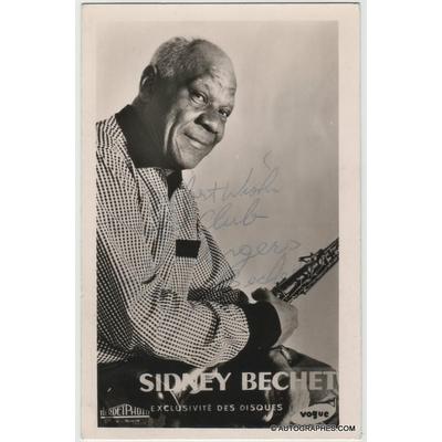 Sidney BECHET - Carte postale dédicacée et signée (Hot Club d'Angers)