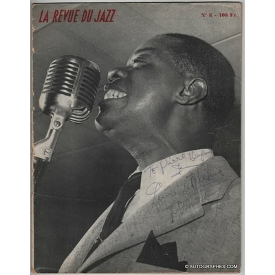 Louis ARMSTRONG - Barney BIGARD - Cozy COLE - Arvell SHAW - Velma MIDDLETON -  Autographes sur La Revue du Jazz