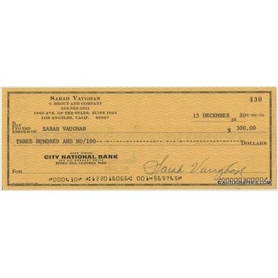 Sarah VAUGHAN - Chèque personnel signé à son ordre (1980)