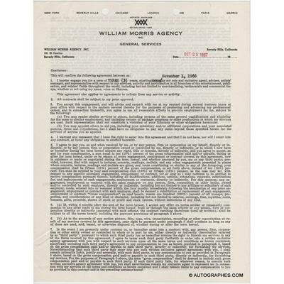 Cyd CHARISSE - Contrat avec signature autographe (1967)
