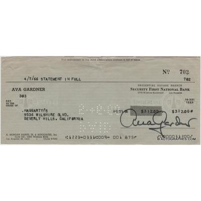 Ava GARDNER - Chèque personnel signé (1966)