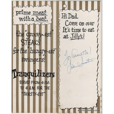 Frank SINATRA - Menu du restaurant Jilly's dédicacé et signé
