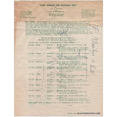 Louis ARMSTRONG - Danny BARCELONA - Billy KYLE - Edmond HALL - Mort HERBERT et Velma MIDDLETON - Document signé