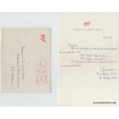 Raymond QUENEAU - Lettre autographe signée (1968)