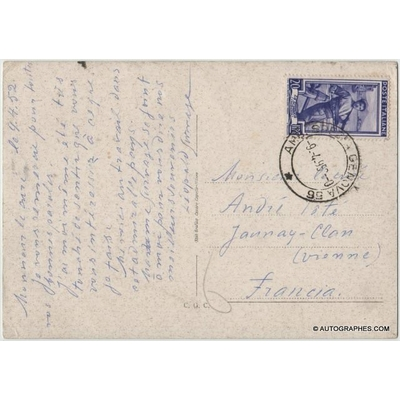 Léopold SURVAGE - Carte postale autographe signée (Sestri Levante / 1962)