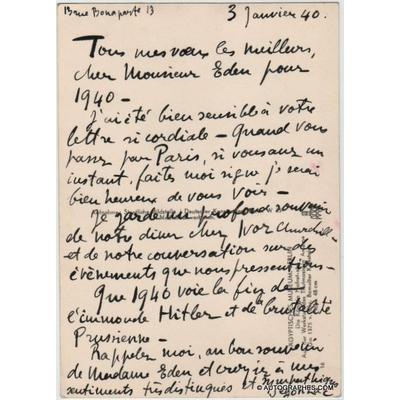 André DUNOYER DE SEGONZAC - Carte postale autographe signée à propos d'HITLER (1940)