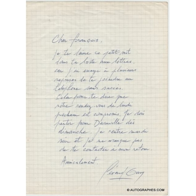 Gérard OURY - Billet autographe signé (Deauville)