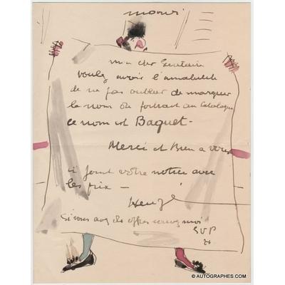 Edmond HEUZE - Lettre autographe signée  et illustrée d'un clown