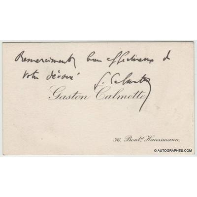 Gaston CALMETTE - Carte de visite autographe signée (Affaire Caillaux)