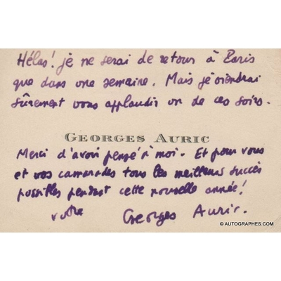 Georges AURIC - Carte de visite autographe signée