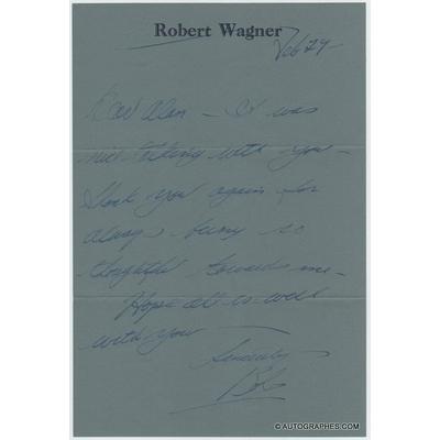 Robert WAGNER - Lettre autographe signée (1975)