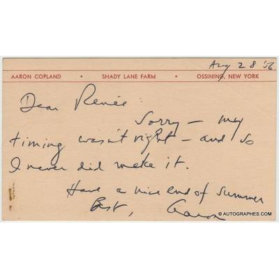 Aaron COPLAND - Carte autographe signée (1956)