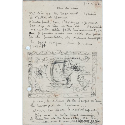 Raymond PEYNET - Lettre autographe signée illustrée d'un croquis des amoureux (11 mars 1944)