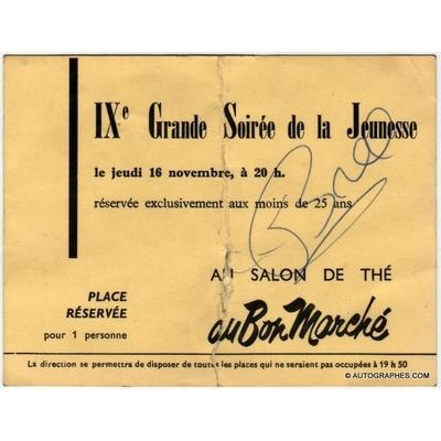 Jacques BREL - Signature autographe sur le ticket d'un concert