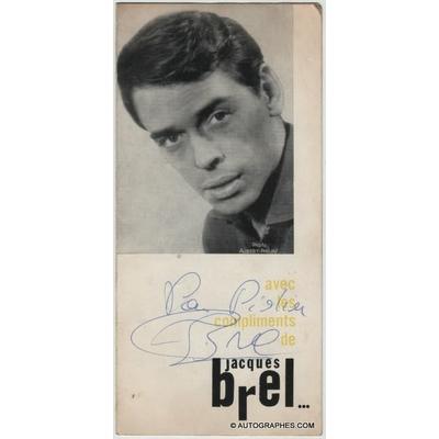 Jacques BREL - Dédicace autographe signée sur le dépliant d'un concert