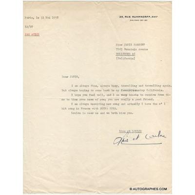 Line RENAUD - Lettre dactylographiée signée (1958)