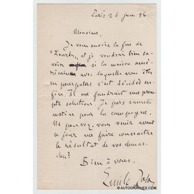 Emile ZOLA - Lettre autographe signée à propos de son roman Lourdes (1894)