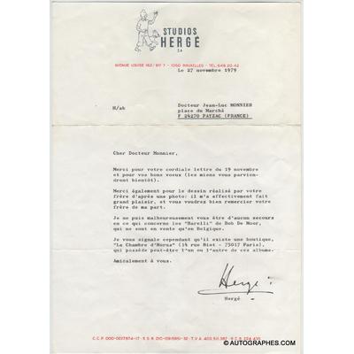 HERGE - Lettre dactylographiée signée (1979)
