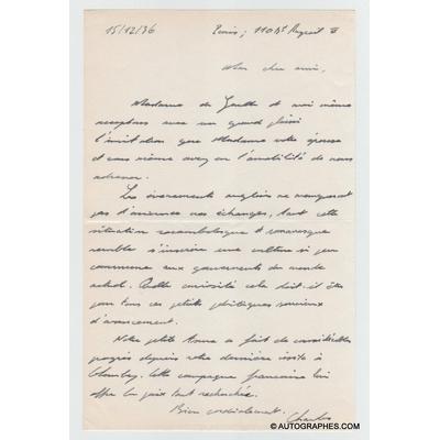 Charles de GAULLE - Lettre autographe signée (1936)