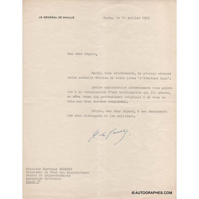 Charles de GAULLE - Lettre dactylographiée signée (12 juillet 1963)