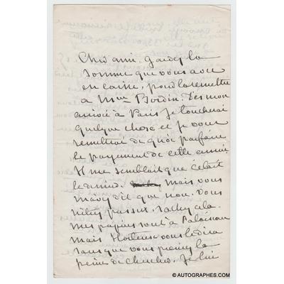 George SAND - Lettre autographe signée à propos de Cadio (14 juin 1867)