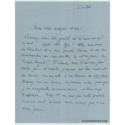 Marcel PAGNOL - Lettre autographe signée à Gustave QUINSON