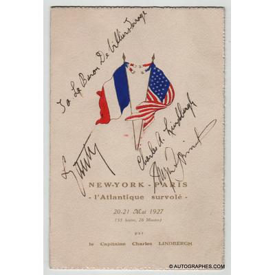 Charles LINDBERGH - Menu dédicacé par Charles LINDBERGH à Paris (25 mai 1927)
