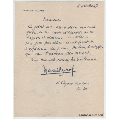 Marcel PAGNOL - Lettre autographe signée (5 octobre 1947)
