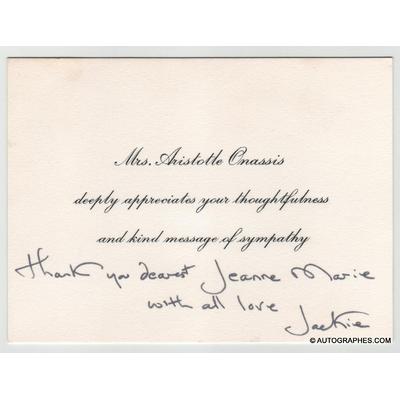 """Jacqueline KENNEDY-ONASSIS (Jackie KENNEDY) - Carte autographe signée """"Jackie"""" (1975)"""