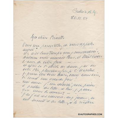 [Antoine de SAINT-EXUPERY] Marie de SAINT-EXUPERY - Lettre autographe signée à propos de son fils Antoine