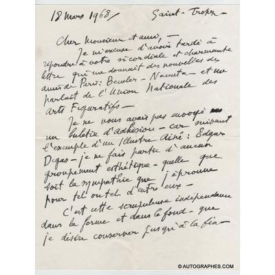 André DUNOYER DE SEGONZAC - Lettre autographe signée (18 mars 1968)