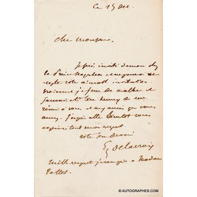 Eugène DELACROIX - Lettre autographe signée à Alfred TATTET