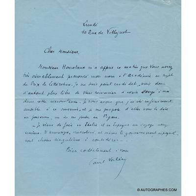 Paul VALÉRY - Lettre autographe signée (D'ANNUNZIO / MUSSOLINI)