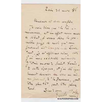 Emile ZOLA - Lettre autographe signée à propos de La Fée amoureuse (31 mars 1888)