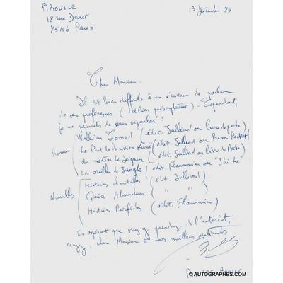 Pierre BOULLE - Lettre autographe signée (13 décembre 1979)