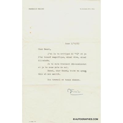 Federico FELLINI - Lettre dactylographiée signée à propos de 8½ (2 octobre 1963)