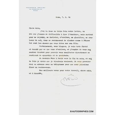 Federico FELLINI - Lettre dactylographiée signée (7 février 1984)