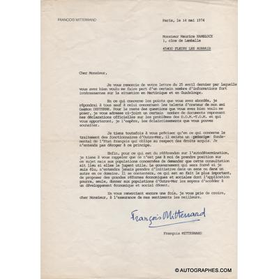 MITTERRAND François - Lettre dactylographiée signée (14 mai 1974)
