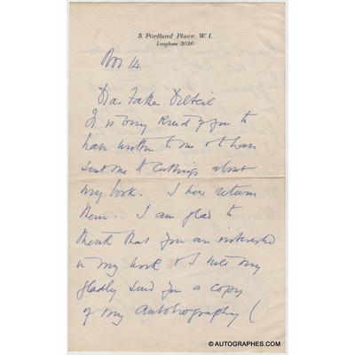 William Somerset MAUGHAM - Lettre autographe signée à l'abbé DELTEIL (14 novembre 1935)
