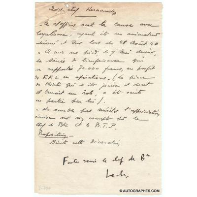Général LECLERC - Document signé avec apostille autographe (1942)