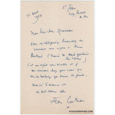 Jean COCTEAU - Lettre autographe signée à Raymond QUENEAU