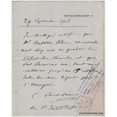 Camille SAINT-SAËNS - Document autographe signé