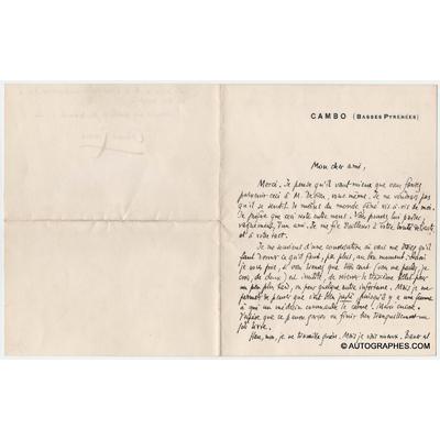 Edmond ROSTAND - Lettre autographe signée