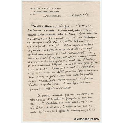 Roger MARTIN DU GARD - Lettre autographe signée (annonce le décès de son épouse)