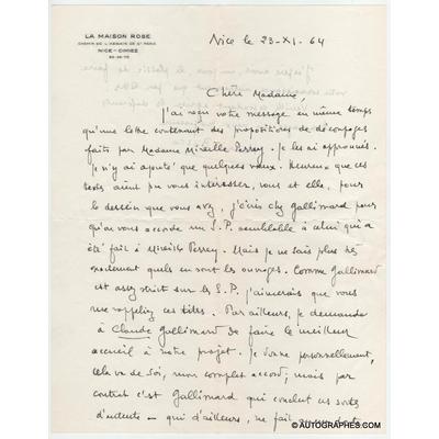 Henri BOSCO - Lettre autographe signée à propos d'un projet télévisuel (23 novembre 1964)