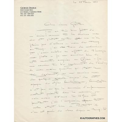 Georges DELERUE - Lettre autographe signée (Los Angeles 28 février 1990)